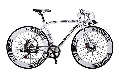 Special Offers - New A01 High Fashion VISP White 54 cm 700C 14 Speeds Mens Road Bike Speed Road Bicycle Mechanical Disc Brakes - In stock & Free Shipping. You can save more money! Check It (June 16 2016 at 12:39AM) >> http://roadbikesusa.net/new-a01-high-fashion-visp-white-54-cm-700c-14-speeds-mens-road-bike-speed-road-bicycle-mechanical-disc-brakes/