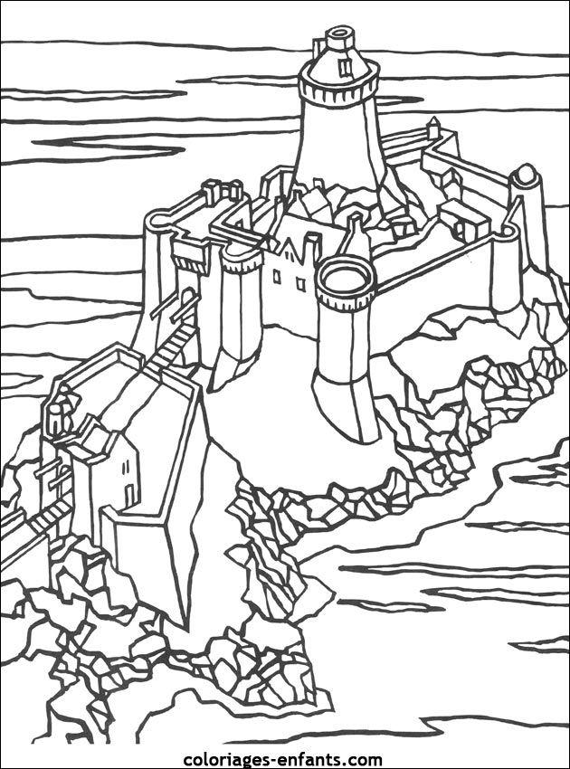 Coloriage Chateau Fort En Ligne.Coloriage Magique Chateau Fort
