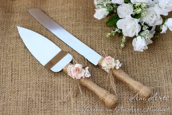 Servidor de la torta de boda rústica y cuchillo de servir tarta tarta Set corte Set pastel de corte del conjunto