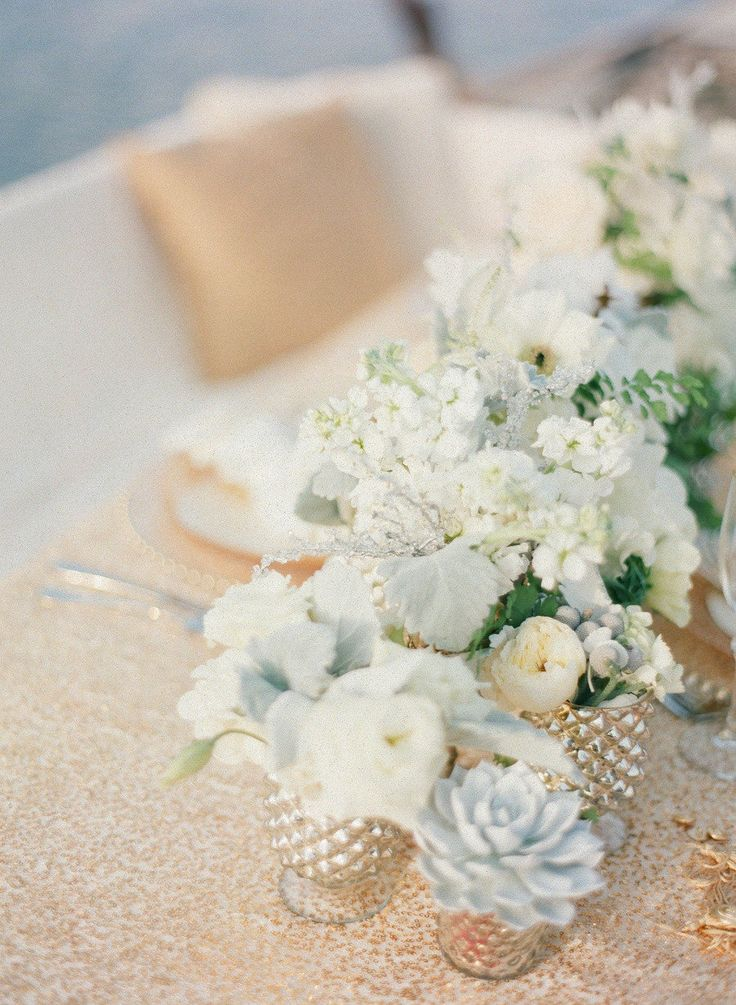 gold, white, succulents