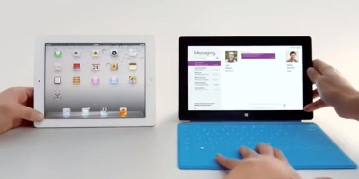 Windows Surface RT mocking the iPad 4 in a new TV ad