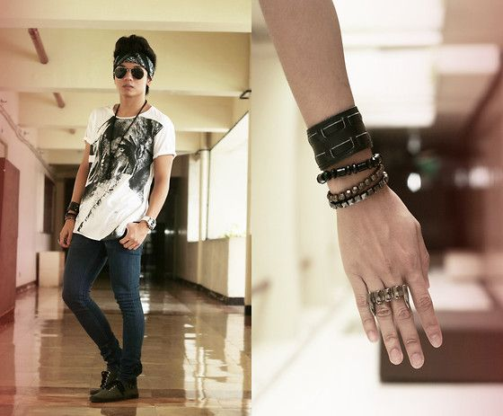 Oxygen Bracelets, Bubbles Connector Ring, Divisoria Chain Necklace, Ray Ban Aviators, Sm Accessories Turban, Oxygen Photographic Tee, Turner Wrist Watch, Topman Spray On Skinny, Wade Plimsols, Sm Accessories Leather Bracelet