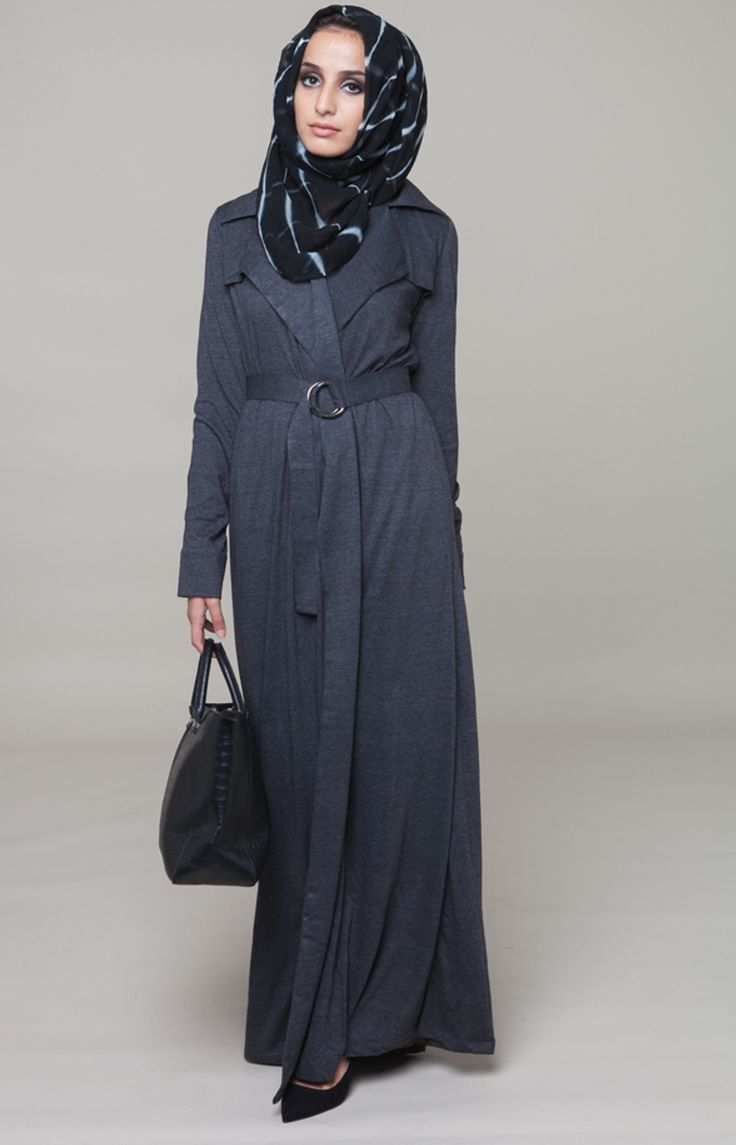 Charcoal Open Trench #Aab #AabCollection #HijabiFashion #Abaya #Style #Love