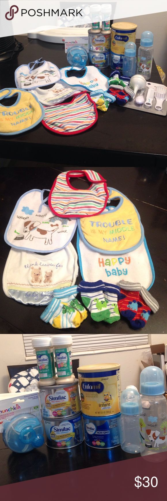 Infant bundle lot! Everything for new baby! All brand new, never opened or used. Bundle comes with 5-bibs. 3-pairs of dinosaur socks. 2 bottles. 9 oz and 5oz (BPA- FREE), 4-cans of infant powdered formula. Similac advanced, similac pro-advanced, similac pro- sensitive and Enfamil. Expiration date for all powered formula(April 2018) 4-2FL oz liquid formula (expiration date may 2017) 1-formula Dispenser. And a safety kit. (Pictures listed all items) if you would like to buy anything…