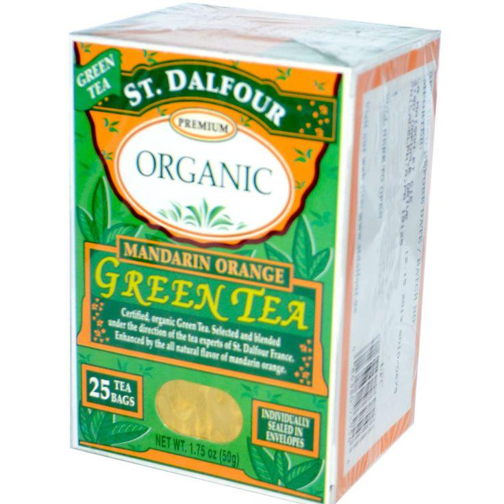 St. Dalfour, Organic, Green Tea, Mandarin Orange, 25 Tea Bags, 1.75 oz (50 g) - iHerb.com. Bruk gjerne rabattkoden min (CEC956) hvis du vil handle på iHerb for første gang. Da får du $5 i rabatt på din første ordre (eller $10 om du handler for over $40), og jeg blir kjempeglad, siden jeg får poeng som jeg kan handle for på iHerb. :-)