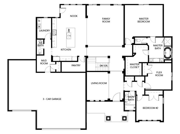 Symphony Homes   Ballad - my edit - Remove stairs, Move entry to left and turn living room into bedroom. Remove bath in master, Move shower down and pop the toilet there. Have access to wir from bedroom