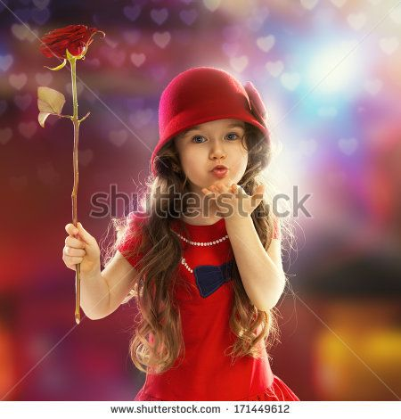 Cute Girl Flying Kiss Wallpaper Images Of Little Girl Holding Red Rose Google Search