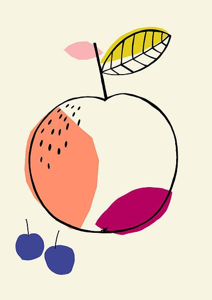 Fruit illustration, Susan Driscoll surface pattern design