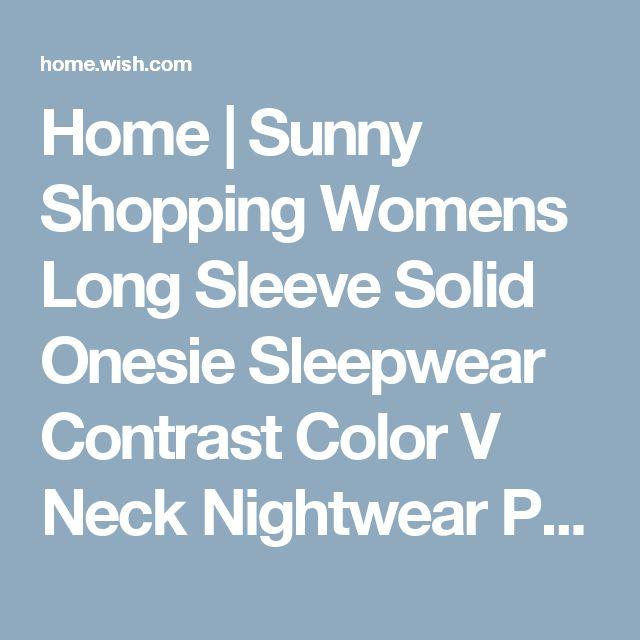 Home | Sunny Shopping Womens Long Sleeve Solid Onesie Sleepwear Contrast Color V Neck Nightwear Pajamas