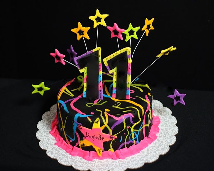 Neon and black cake