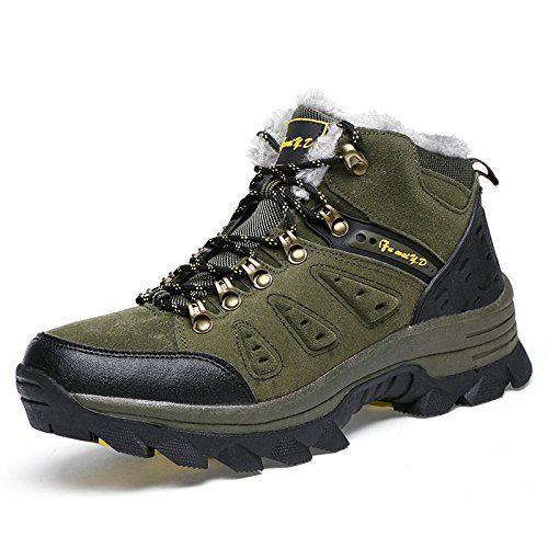 Oneone Mens Hiking Boots With Fur Green Size 8 ** More info could be found at the image url.
