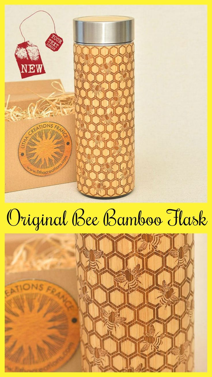 Original Bamboo Thermos Wooden Flask Engraved Wood Honeycomb and Bee #ad #Etsy #bee