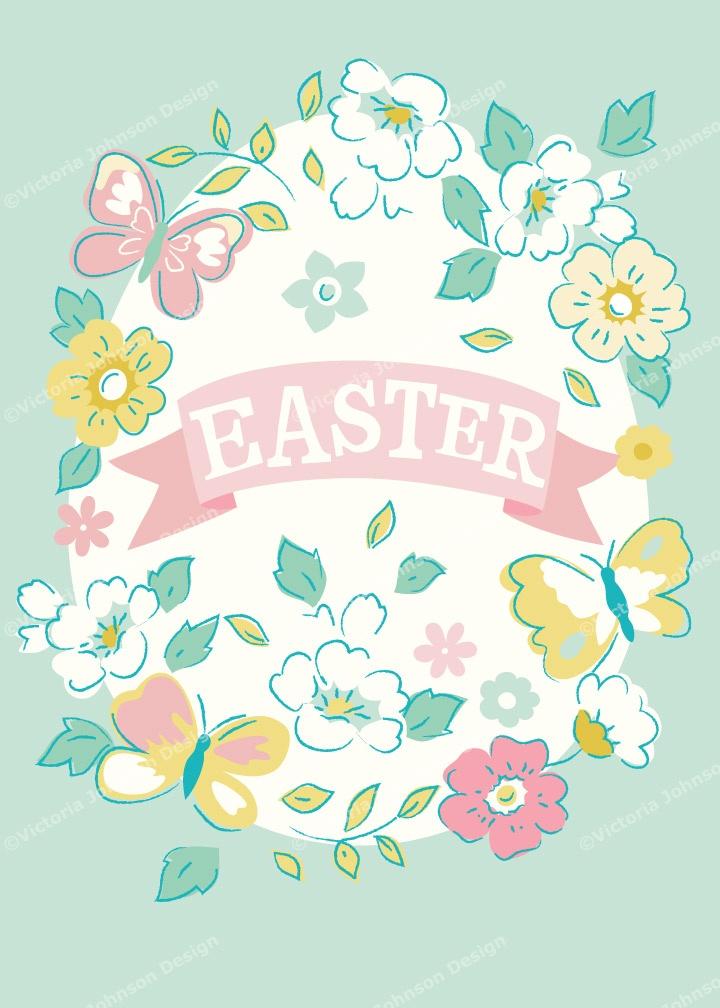 easter floral butterfly wreath design illustration print