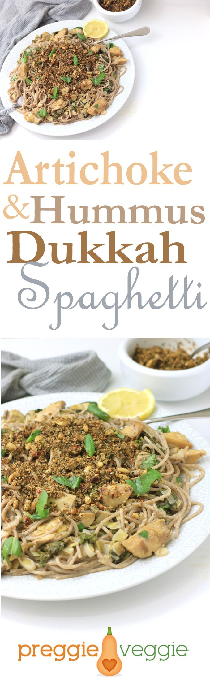 A middle eastern pasta feast with a difference! Artichoke spaghetti with a simple, hummus sauce and a crispy, nutritious dukkah topping. #veganrecipe #veganfood #veggierecipe #veggiefood