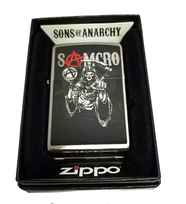 Zippo Custom Lighter - Samcro Sons of Anarchy with Pointing Reaper - Regular Brushed Chrome