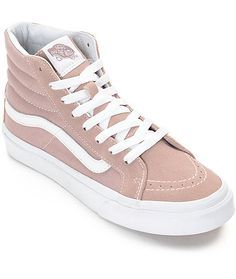 A slimmer sk8-hi made for the ladies of Vans! This delicious mauve colorway features a suede and canvas upper, vulcanized outsole for cruising on your board, and the classic Vans Waffle tread for grip. Pair these beauties with some black distressed jeggin
