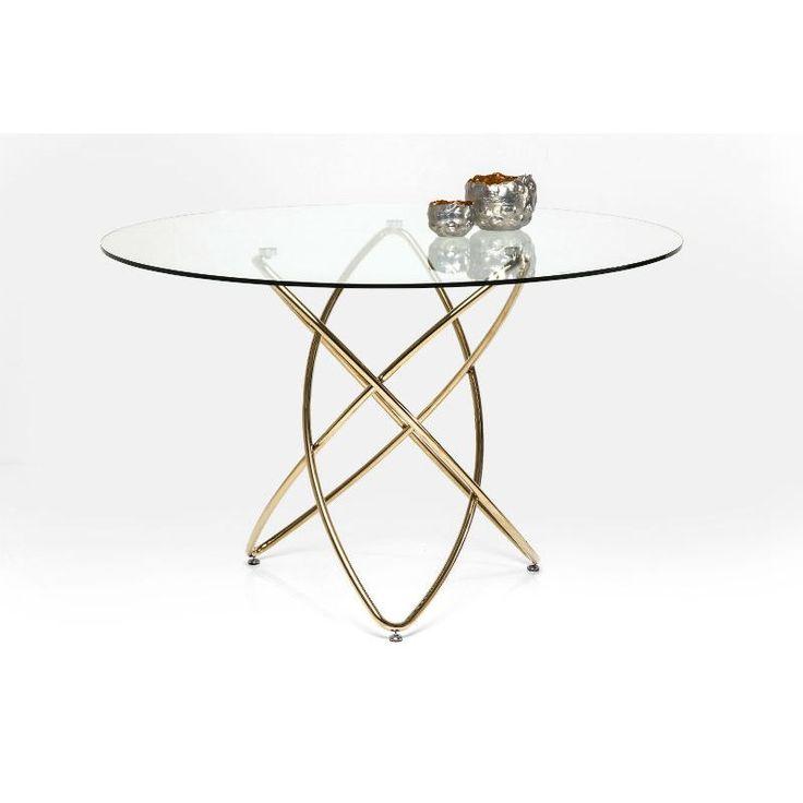 Τραπέζι  Molekular Gold 120 Ένα κομψό τραπέζι σε μοντέρνο σχεδιασμό, με ατσάλινη βάση με γυαλιστερό φινίρισμα σε χρυσό χρώμα και επιφάνεια από γυαλί ασφαλείας.