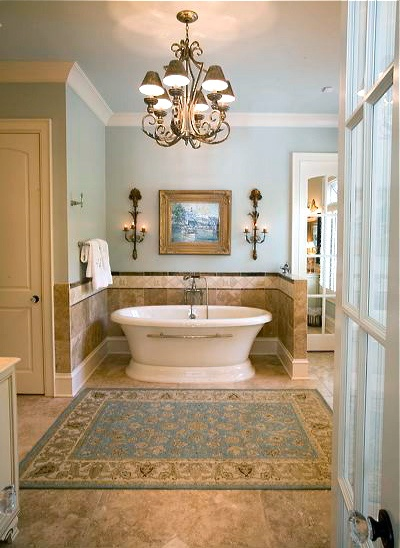 ♥Love the colors, the beautiful tub and the tile enclosure.  Shannon Franks Woods design.