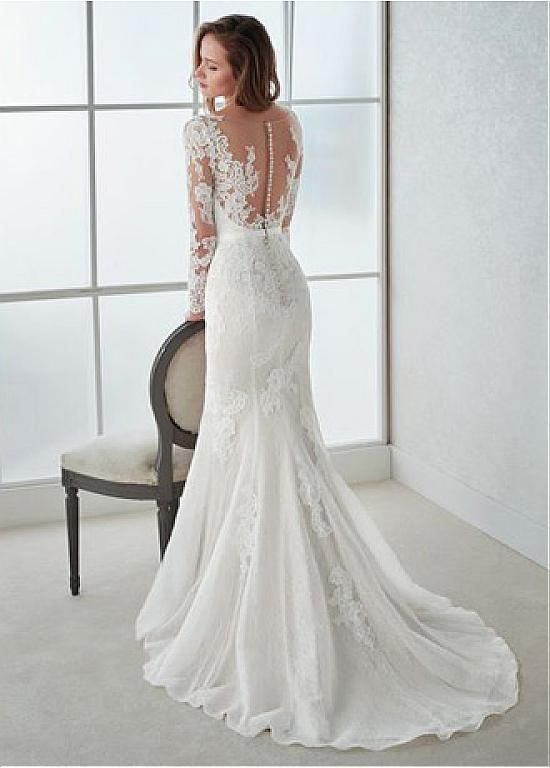 Magbridal Winsome Tulle V-neck Neckline Mermaid Wedding Dresses With Lace Appliques & Bwoknot