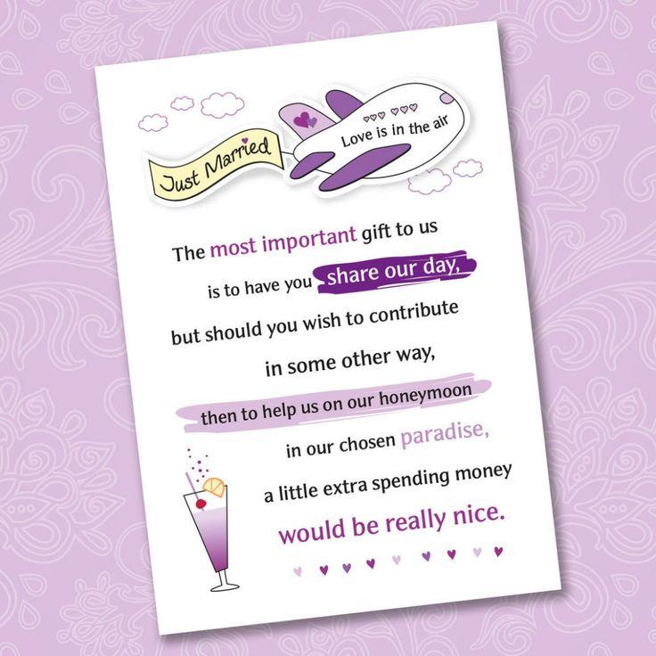 - 25 X Wedding Honeymoon Poem Cards For Your Invitations