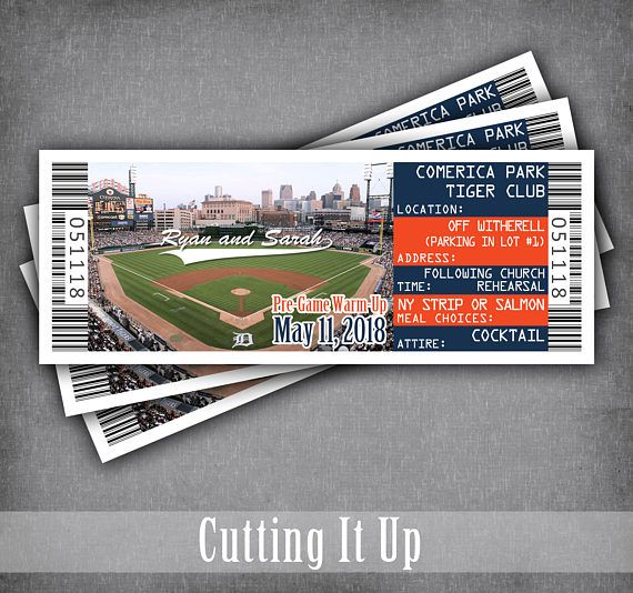 Baseball Rehearsal Dinner Ticket, Baseball Wedding Invitation Ticket, Lunch, Softball, Detroit Tigers, Comerica, Sports Themed, DIY Template by CuttingItUp