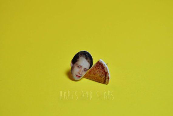 Macaulay Culkin Pizza Underground Post Earrings by HartsAndStars, $14.00 I AM DYING