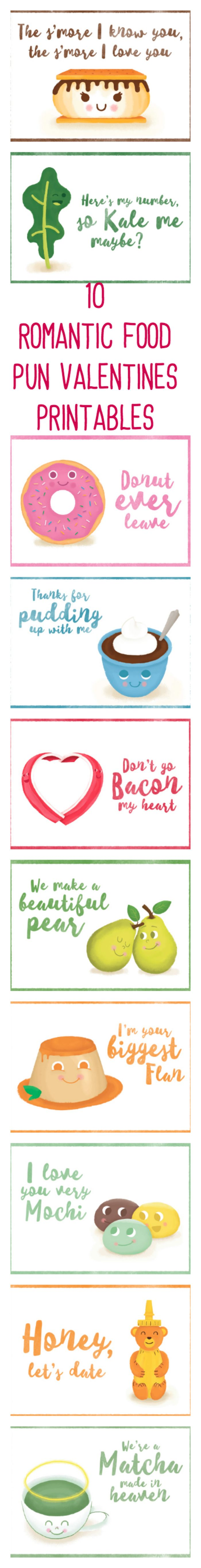 10 Romantic Food Pun Valentines Printables