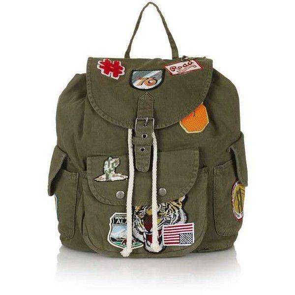 TopShop Badged Denim Backpack ($59) ❤ liked on Polyvore featuring bags, backpacks, slouchy backpack, denim bag, drawstring backpack bags, pocket bag and drawstring bag