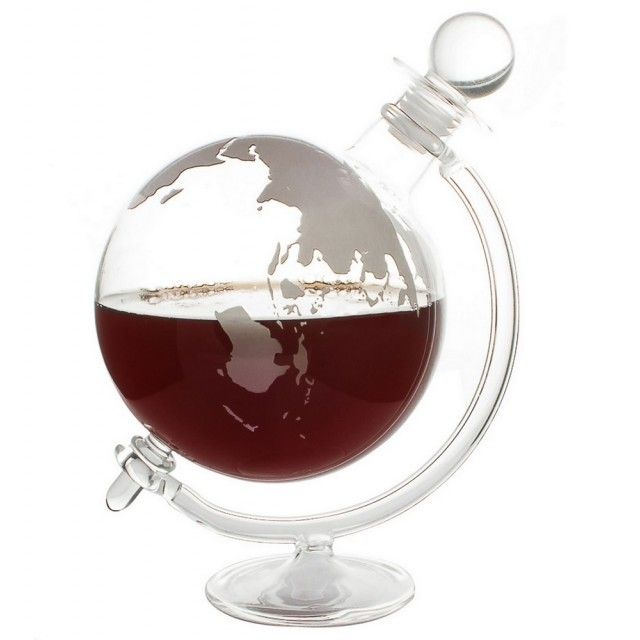 Jeray Mixology Globe Glass Whisky Decanter with Cradle, 1L
