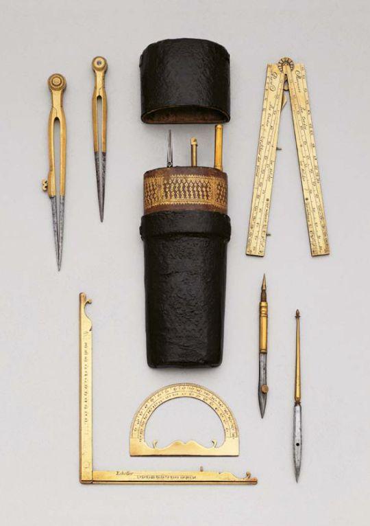 Drawing set, 1730. Brass and steel, shagreen. Paris. Koller auction