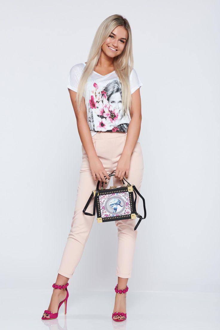 Comanda online, Pantaloni casual conici rosa cu elastic in talie. Articole masurate, calitate garantata!