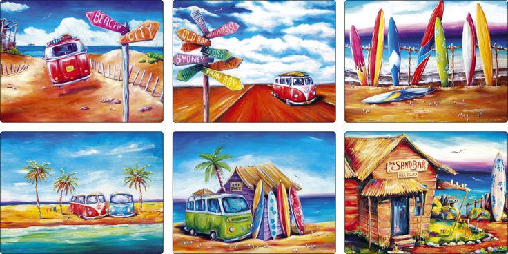 The Gecko Shack - Summer Life SURF set of 6 placemats, $34.95 (http://www.geckoshack.com.au/summer-life-surf-set-of-6-placemats/)