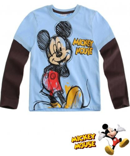 Boy's Kids Mickey Mouse Official Longsleeve T Shirt Sz Age 3 8 Light Blue | eBay