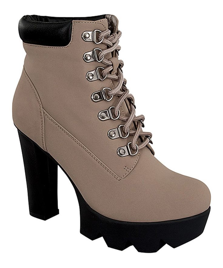 Forever Link Shoes Taupe Tropical Lace-Up Bootie by Forever Link Shoes #zulily #zulilyfinds