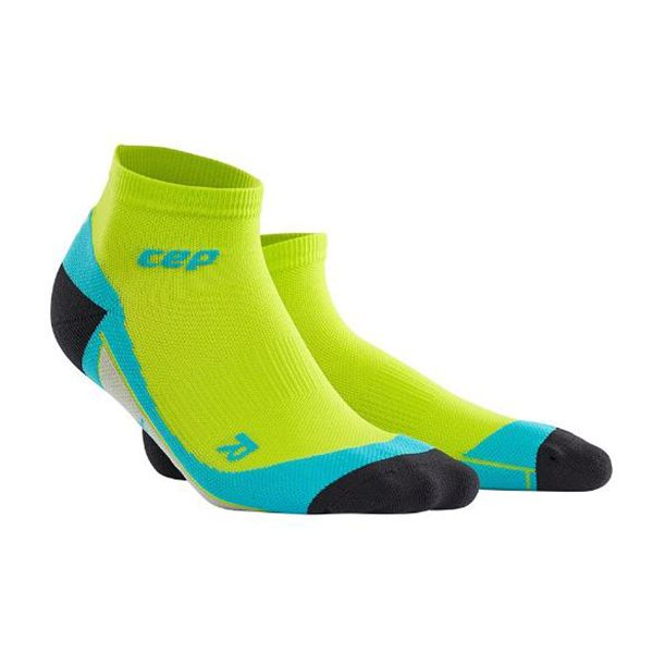 CEP Compression Men's Dynamic+ Run Low-Cut Socks Lime/Hawaii Blue - The long awaited fifth length sock, ideal for runners, triathletes, and all endurance and team sports. #ReadySetGoFitness #CEP #Compression #Socks #Recovery