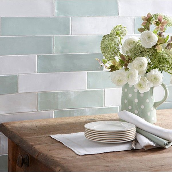 laura ashley artisan eau de nil wall tiles 75 x 300mm - Kitchen Tile Design Ideas