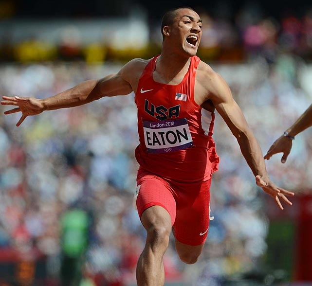 Ashton Eaton got his bid for the decathlon gold off to a good start by winning the 100-meter dash, setting an Olympic record in the process.  #london2012