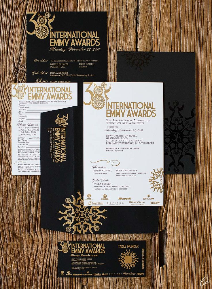 Love the sharp look of the black invitations items with the gold accents -- idea for Lifetime Giving Gala -- use silver accents instead