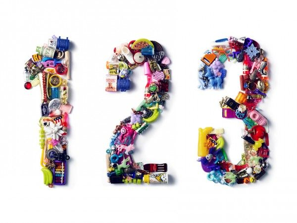 Toy Typography: Colorful Letters Made Out of Toys, Charms, and Knickknacks.  Loose parts & numeracy