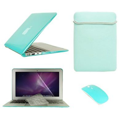 """TopCase Macbook Air 13"""" (A1369 and A1466) 5 in 1 Bundle - Crystal Hard Case Cover + Matching Color Soft Sleeve Bag +Wireless Mouse + Transparent TPU Keyboard Cover + LCD HD Clear Screen Protector (TURQUOISE BLUE)"""
