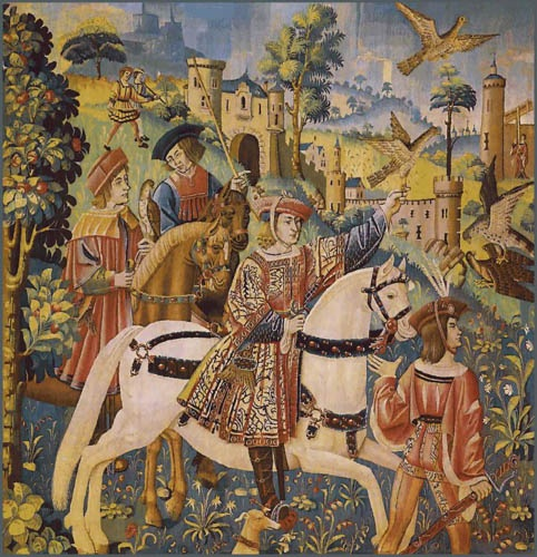 """The Departure for the Hunt tapestry from the early 16th century original at the wonderful Cluny Museum, Paris. Today available as a fine Belgian tapestry wall-hanging: 41""""x38"""" or 77""""x75""""."""