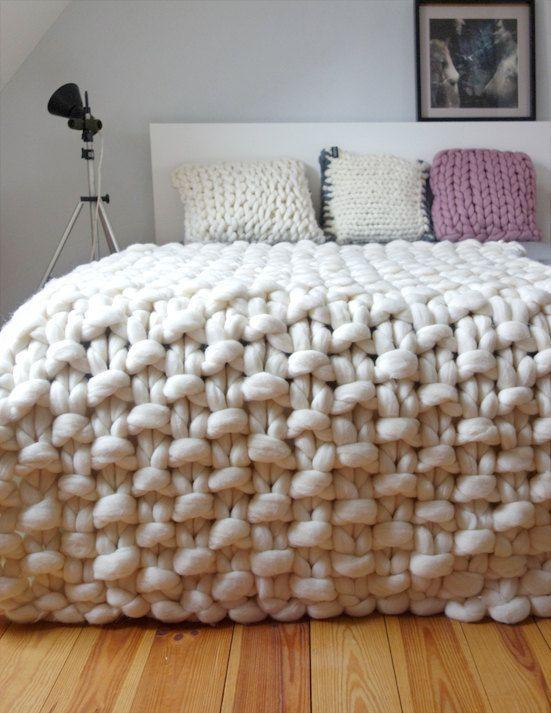 Chunky gebreide gooien dikke wollen deken gigantische brei
