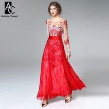 Primavera verão runway designer da mulher vestidos vermelho escuro azul do partido do evento dress beading bordados de flores de alta qualidade longa dress(China)