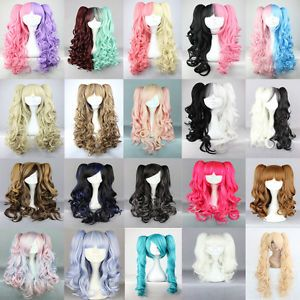 20 Colors 75cm long Split Lolita clip on ponytails curly wavy cosplay hair Wig