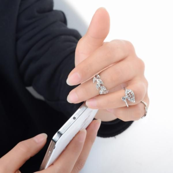 3Pcs/set Women Punk Rock Crystal Leaf Mid Mid Finger Rings Set Crystal Leaves Knuckle Finger Rings Gold Silver Jewelry