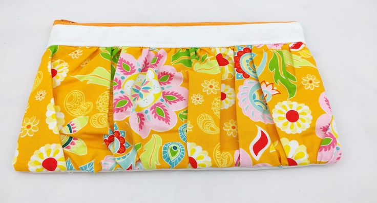 yellow orange pink blue paisley floral ruffled Wristlet, small purse, evening bag, gift for her, cosmetic bag, clutch purse, unique gift