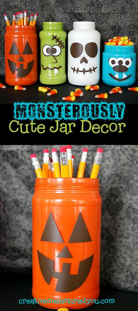http://creativemeinspiredyou.com/monsterously-crazy-cute-halloween-jars/ What bright and fun Halloween jars, this is too cute!