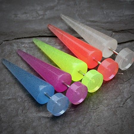 Glow in the Dark UV Acrylic fake tapers  soo cool