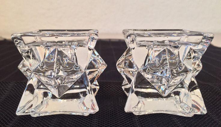 Lead Crystal Candlesticks, Ice Cube Candlesticks, Crystal Candle Holders, Taper Candlesticks, Made in USA