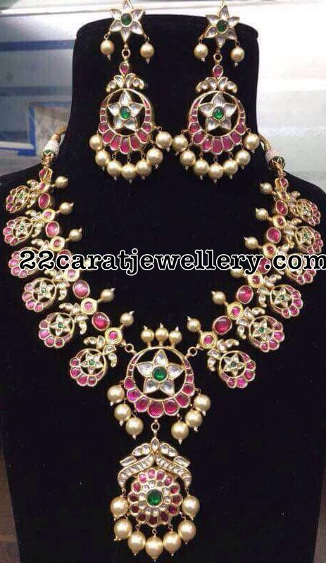 Kundan Ruby Floral Necklace - Jewellery Designs
